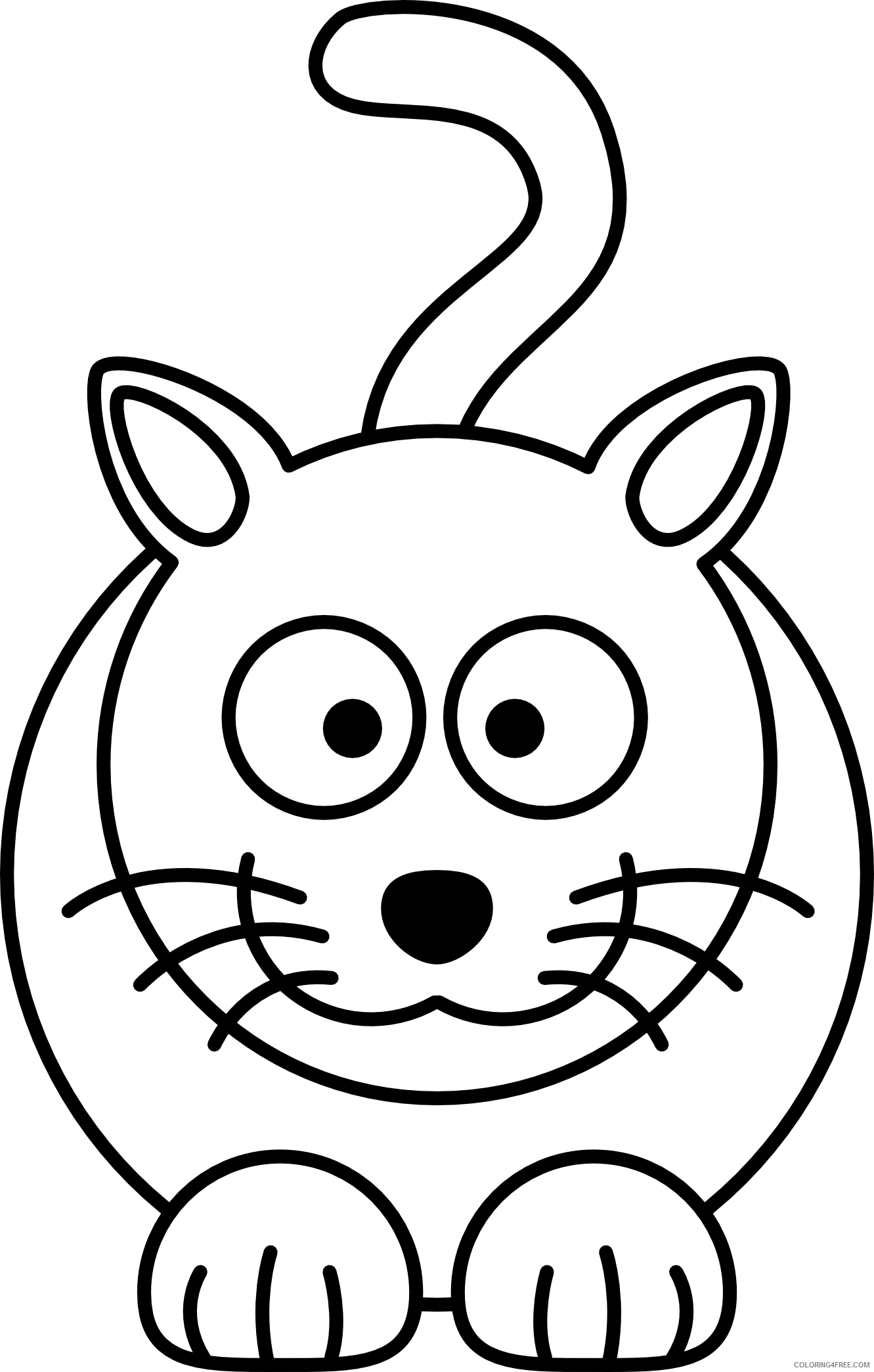 Cat Outline Coloring Pages lemmling cartoon cat black white Printable Coloring4free