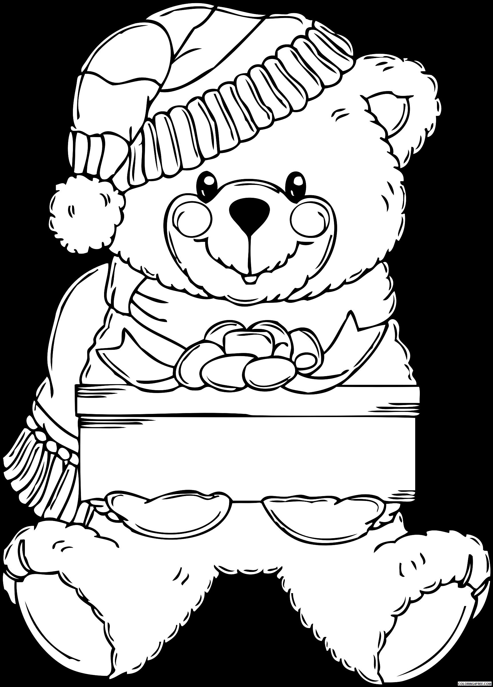 Christmas Bear Coloring Pages christmas bear wih present black Printable Coloring4free