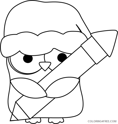 Christmas Owl Coloring Pages black and Printable Coloring4free
