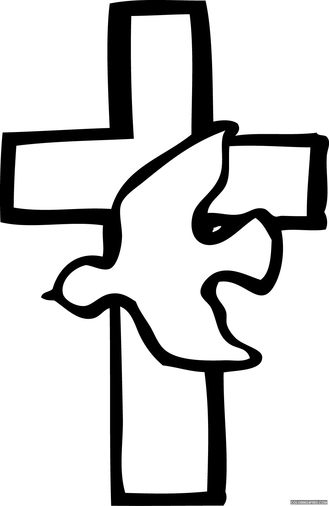 Cross Dove Coloring Pages dove and cross Printable Coloring4free