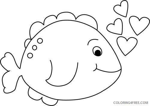 Cute Fish Coloring Pages cute valentines Printable Coloring4free