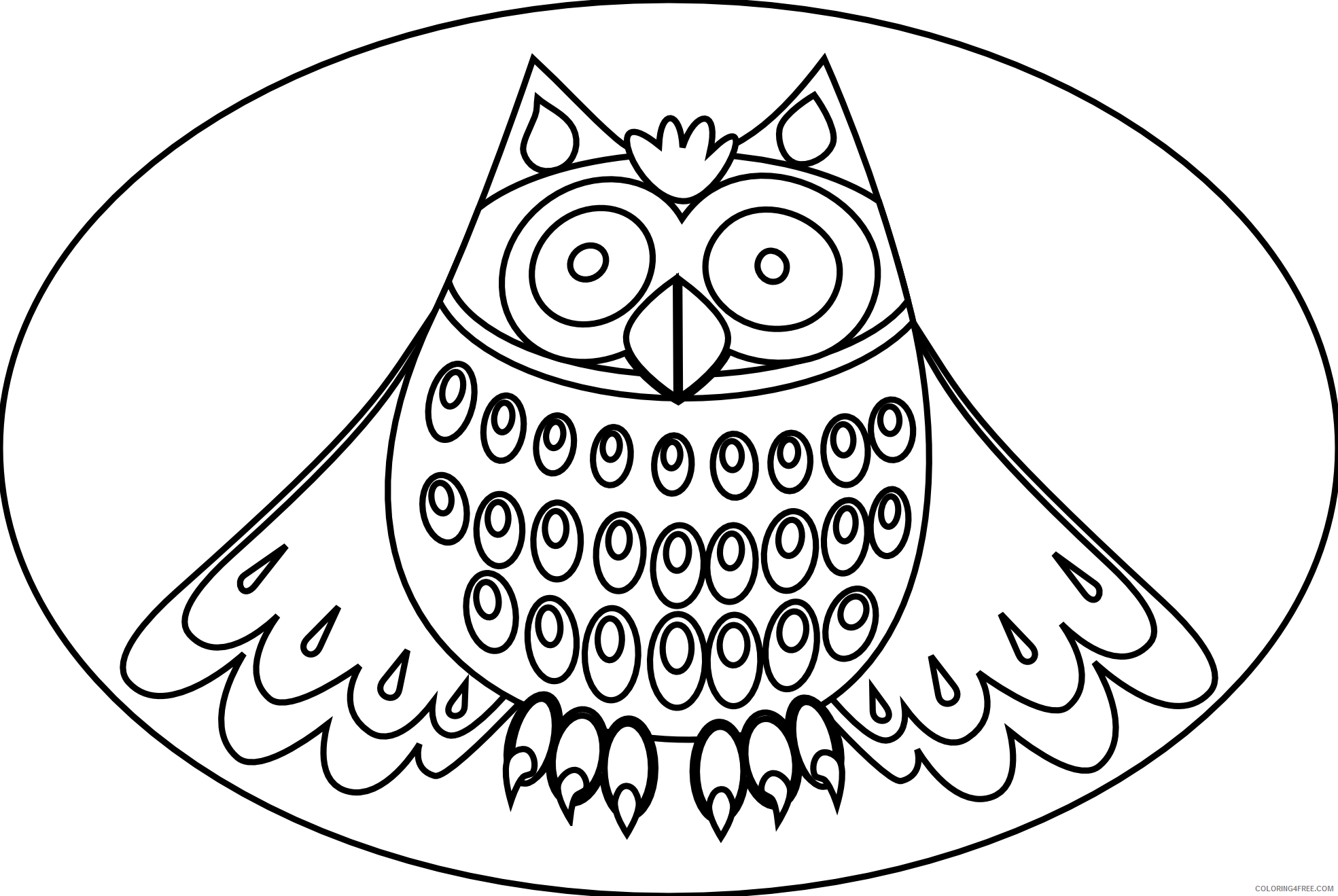 Cute Owl Coloring Pages cute owl black white line Printable Coloring4free