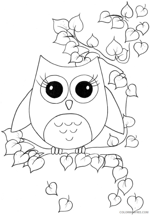 Cute Owl Coloring Pages cute owl colouring rmzjlO Printable Coloring4free
