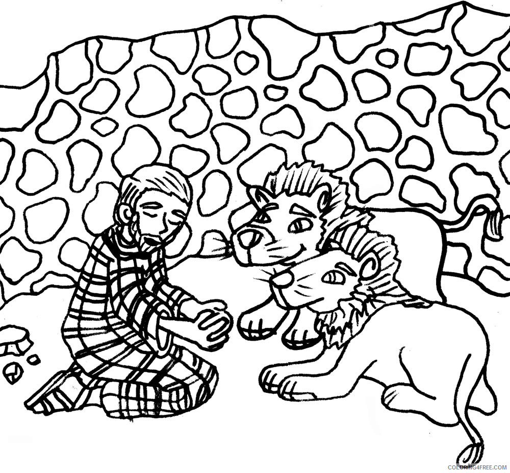 Daniel in the Lions Den Coloring Pages daniel and the lions den Printable Coloring4free
