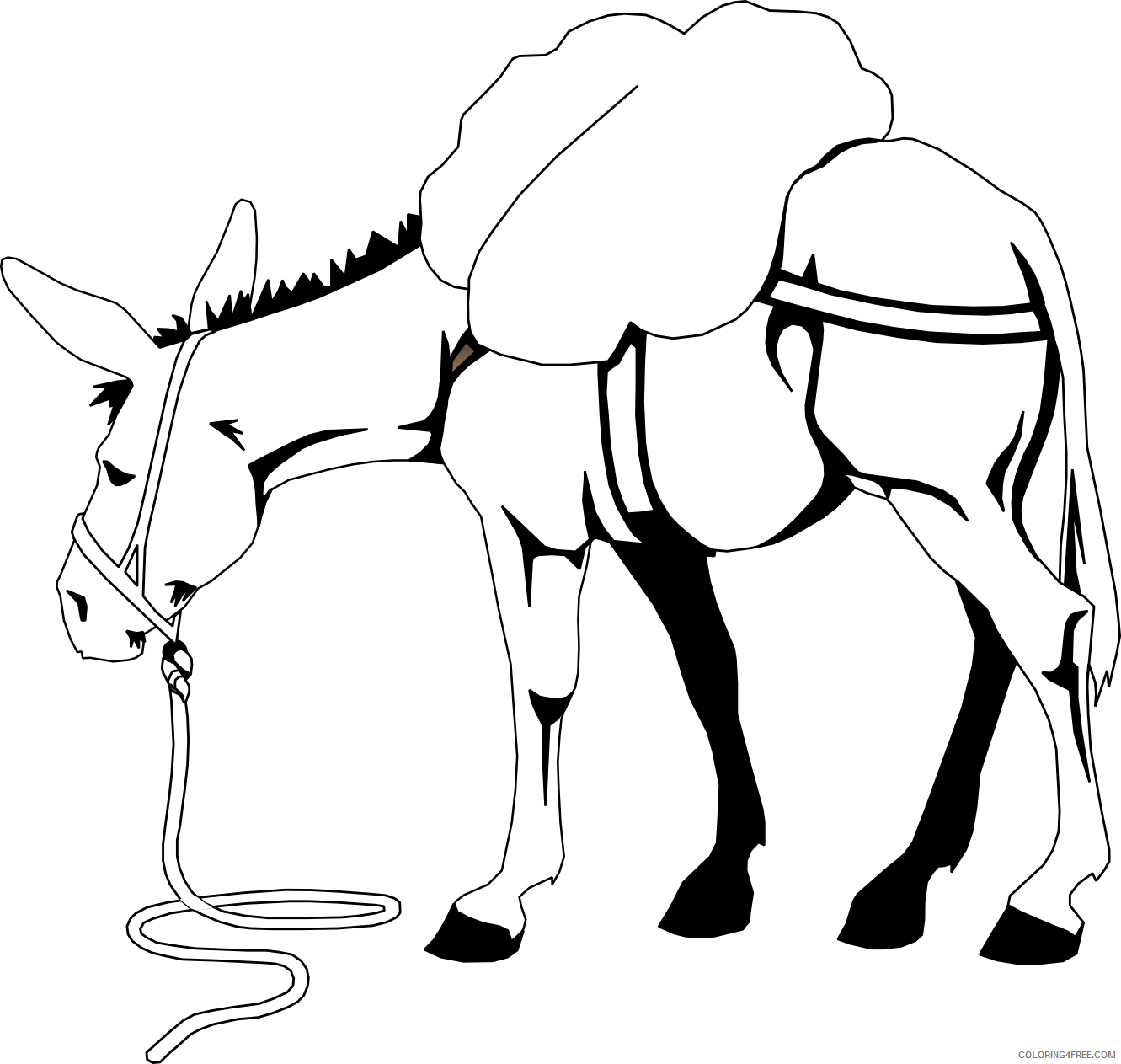 Donkey Coloring Pages donkey free cliparts Printable Coloring4free