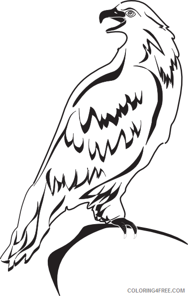 Eagle Outline Coloring Pages perched eagle outline clip art Printable Coloring4free
