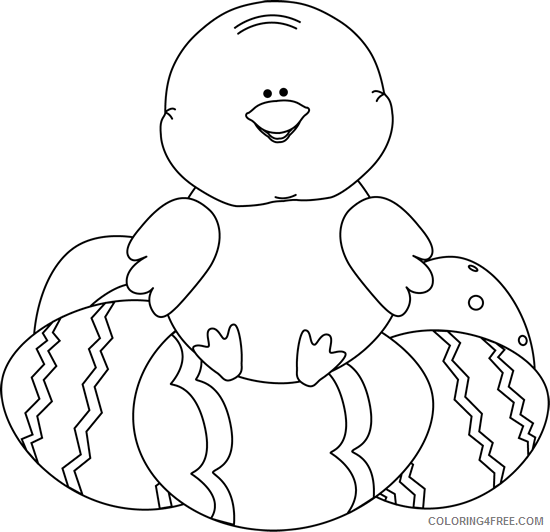Easter Chick Coloring Pages chick sitting Printable Coloring4free