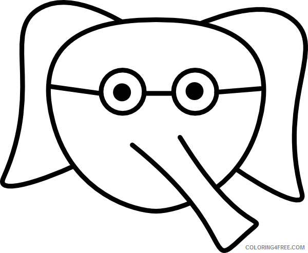 Elephant Face Coloring Pages elephant face glasses clip art Printable Coloring4free