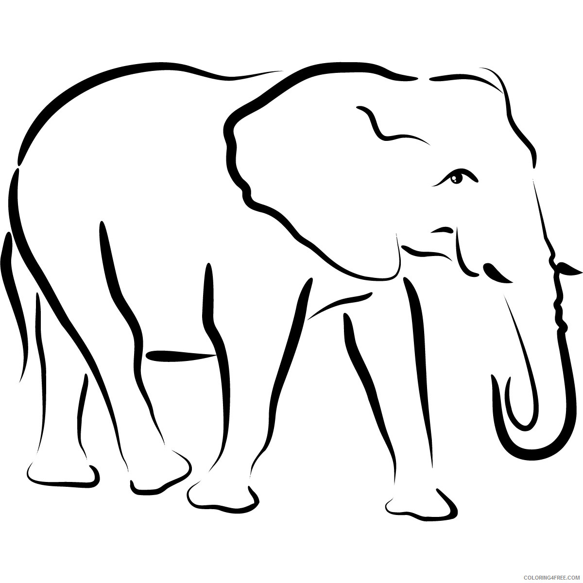 Elephant Outline Coloring Pages 10 elephant drawing outline free Printable Coloring4free