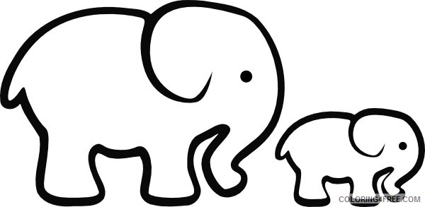Elephant Outline Coloring Pages elephant 17 png Printable Coloring4free