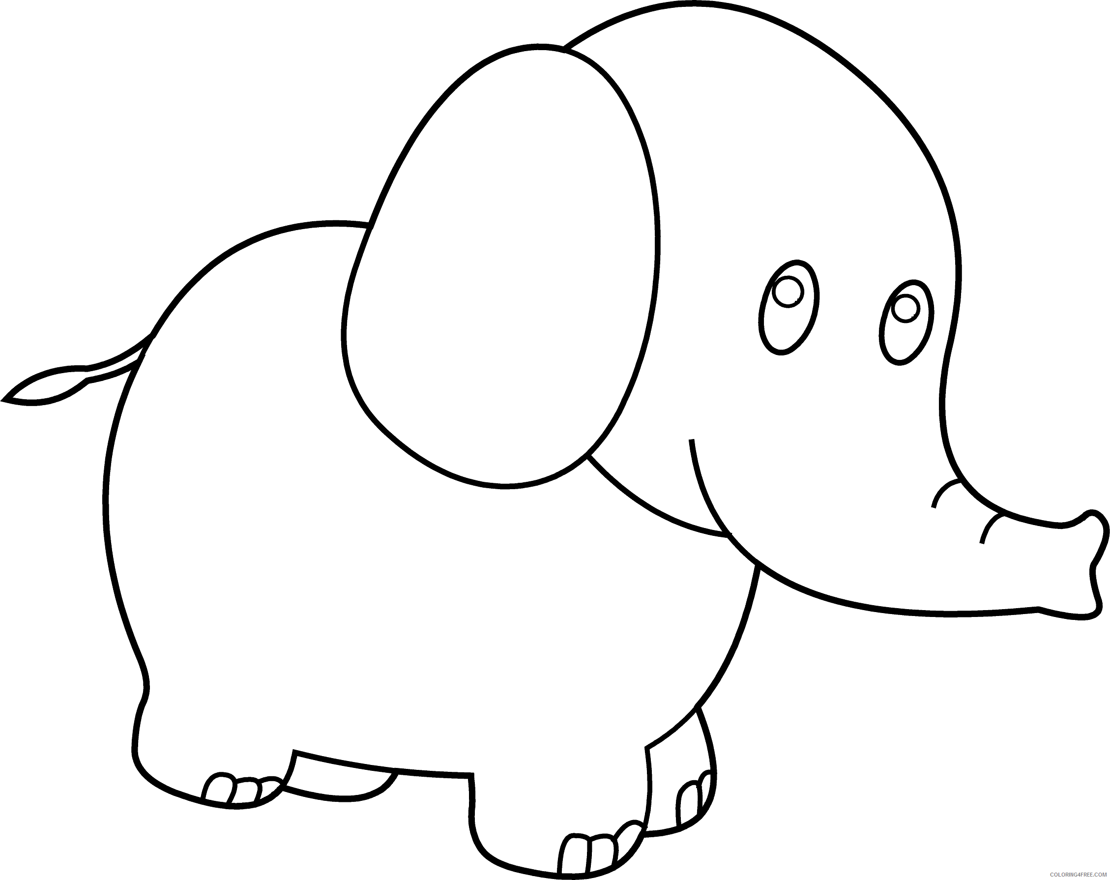 Elephant Outline Coloring Pages elephant 29 png Printable Coloring4free