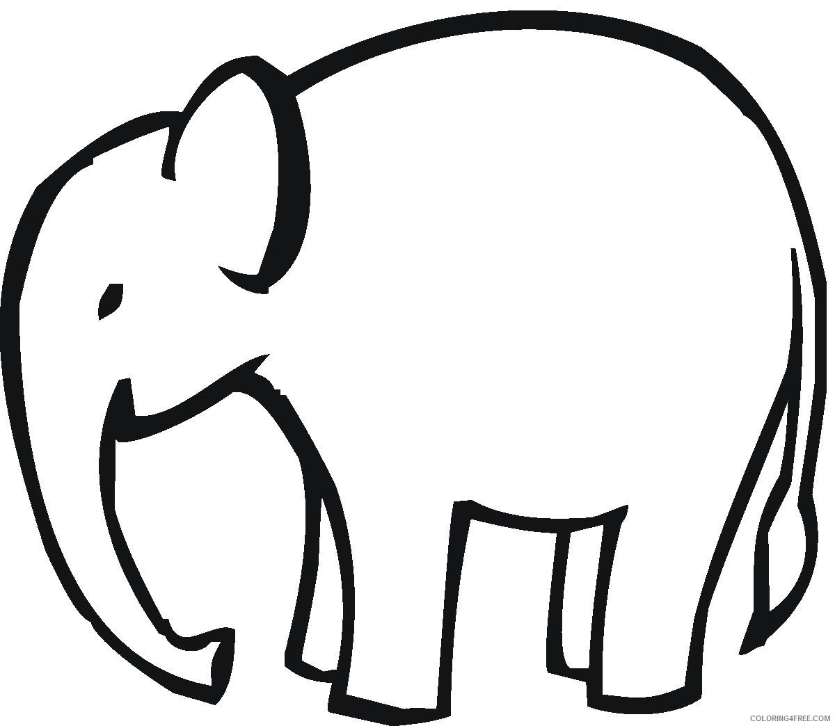 Elephant Outline Coloring Pages elephant head outline mama clipart Printable Coloring4free