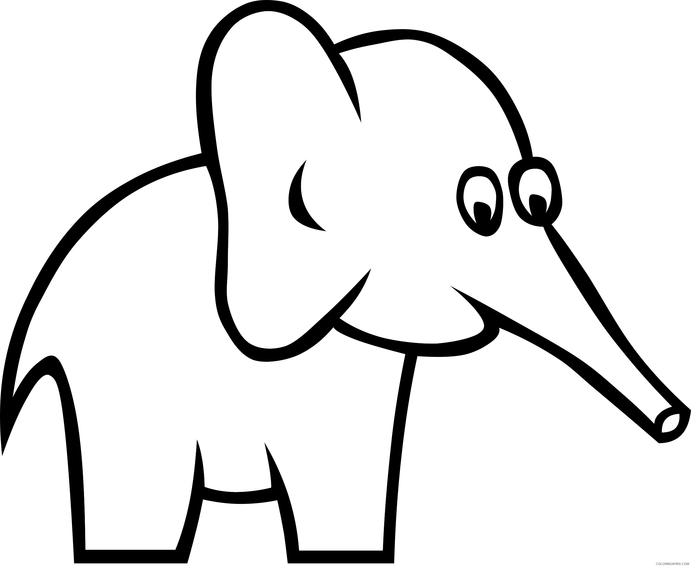Elephant Outline Coloring Pages gerald g certain elephant Printable Coloring4free