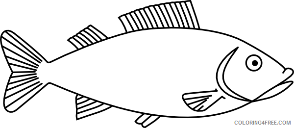 Fish Outline Coloring Pages fish outline 3 clip art Printable Coloring4free