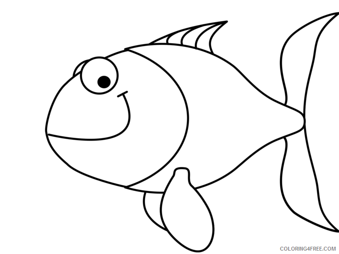 Fish Outline Coloring Pages simple fish outline clip art Printable Coloring4free