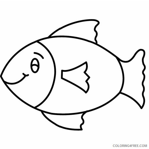 Fish Outline Coloring Pages Simple Fish Outline Printable Fish Printable  Coloring4free - Coloring4Free.com