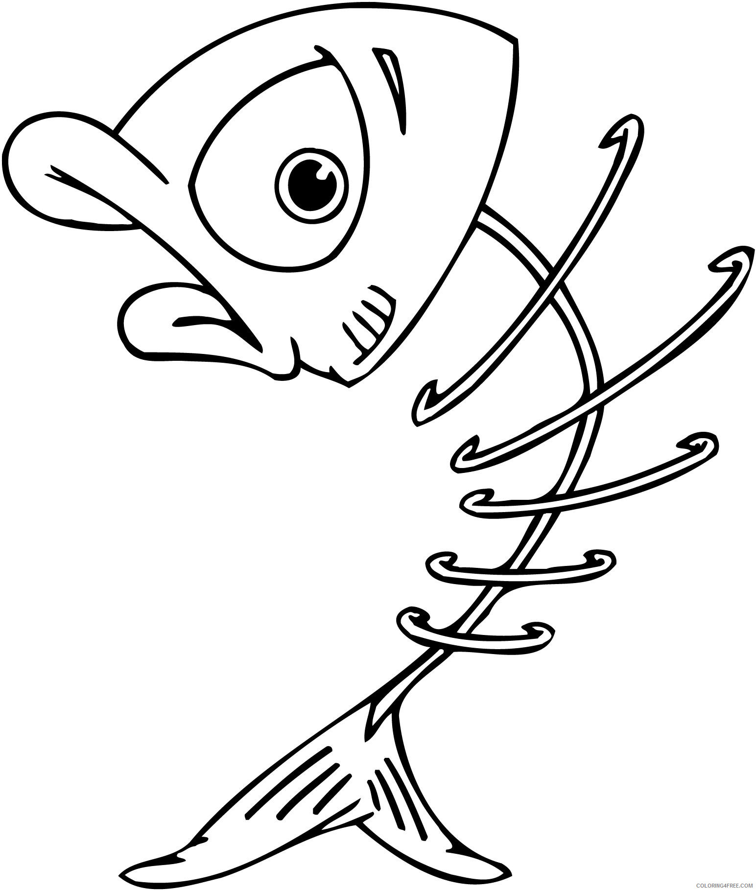 Fish Skeleton Coloring Pages fish skeleton clipart Printable Coloring4free