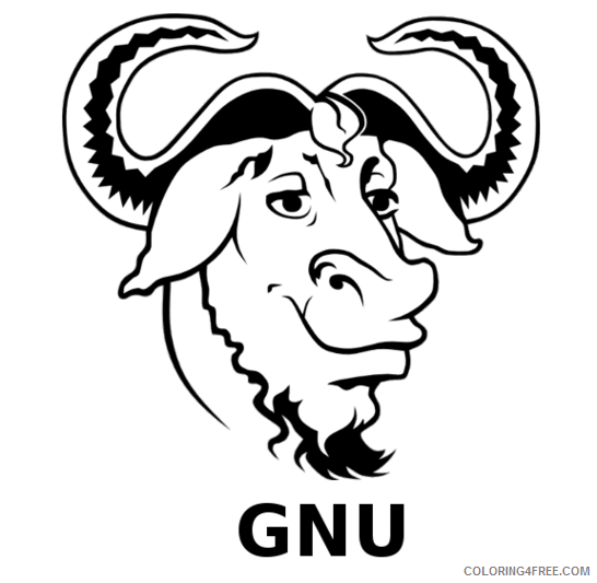 Gnu Coloring Pages gnu 44 png Printable Coloring4free