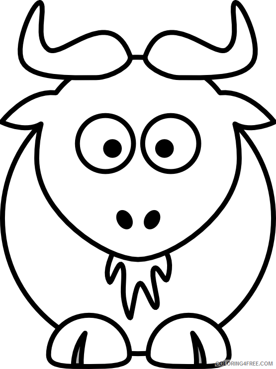 Gnu Coloring Pages gnu 45 png Printable Coloring4free