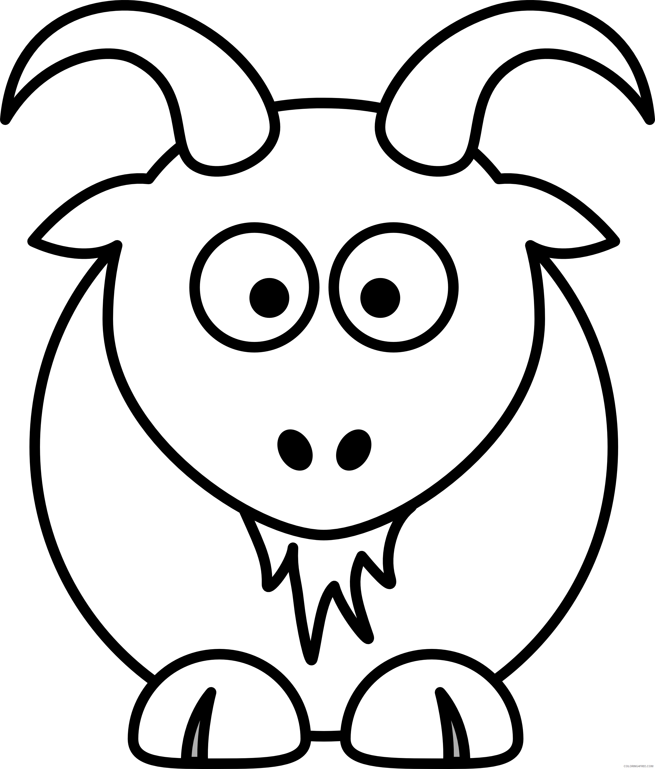 Goat Outline Coloring Pages goat Printable Coloring4free