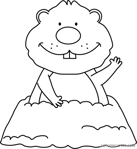 Groundhog Coloring Pages groundhog hole black and Printable Coloring4free