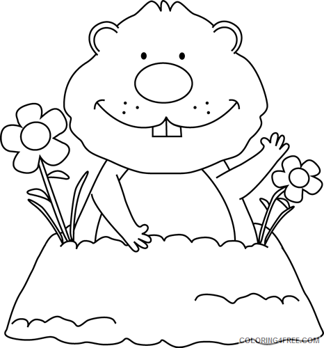 Groundhog Coloring Pages spring groundhog Printable Coloring4free