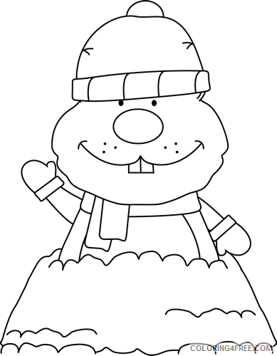 Groundhog Coloring Pages winter groundhog Printable Coloring4free