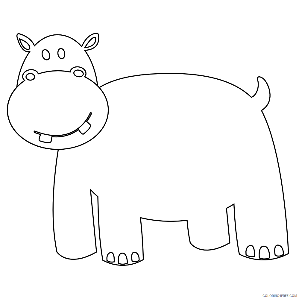 Hippo Outline Coloring Pages colorful animal hippo black white Printable Coloring4free