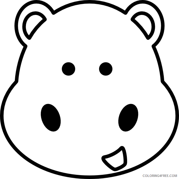 Hippo Outline Coloring Pages hippo head at Printable Coloring4free