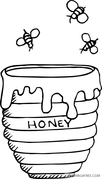Honey Bee Coloring Pages bees around a honey pot Printable Coloring4free