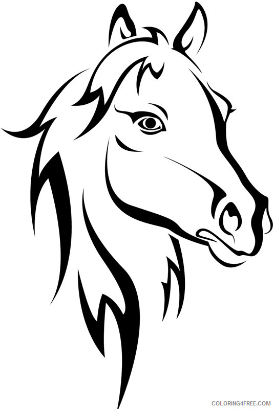 Horse Head Coloring Pages 12 horse head outline free Printable Coloring4free
