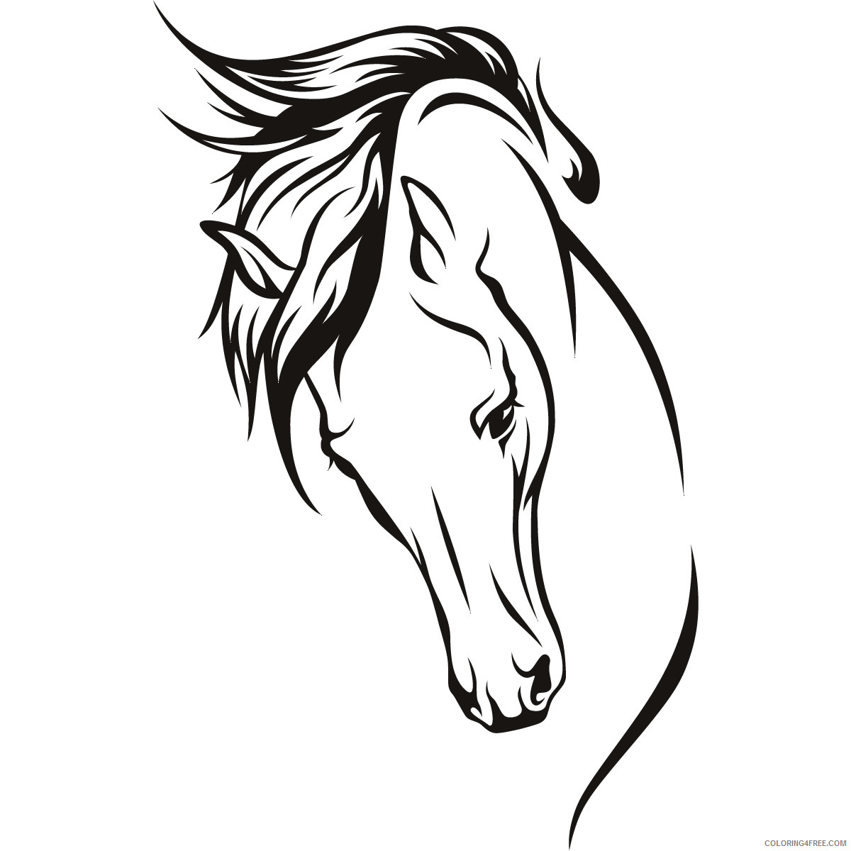 Horse Head Coloring Pages horse head 3 jpg Printable Coloring4free
