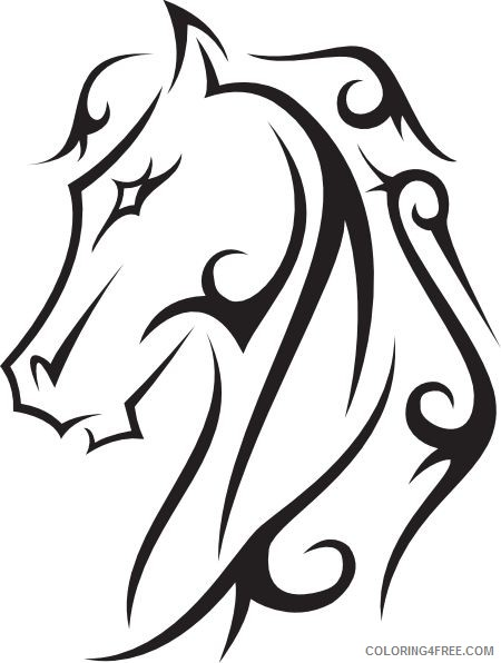 Horse Medium Coloring Pages Line drawings hoeses horse tattoo Printable Coloring4free