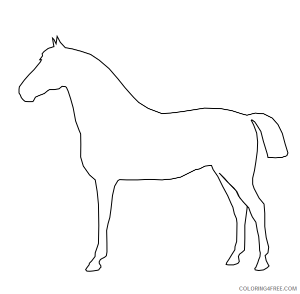 Horse Outline Coloring Pages horse outline at Printable Coloring4free