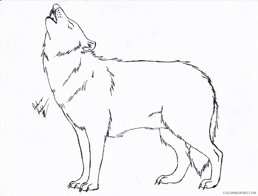 - Howling Wolf Coloring Pages Black Wolf Howling Free Printable Coloring4free  - Coloring4Free.com