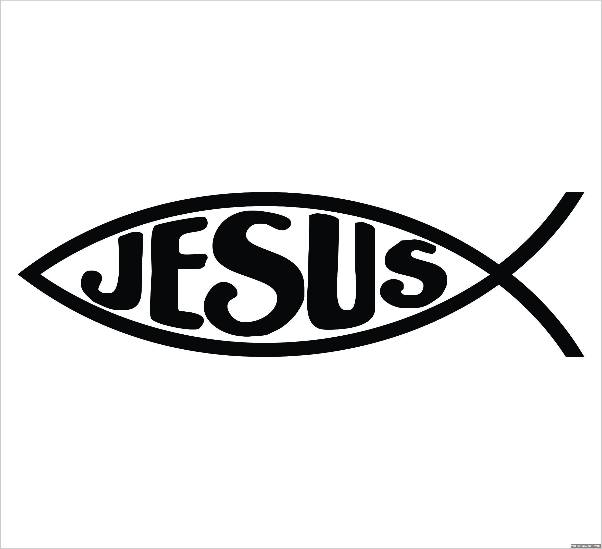 Jesus Fish Coloring Pages jesus fish single color decal Printable Coloring4free