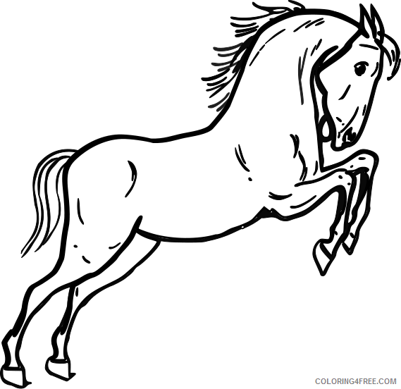Jumping Horse Coloring Pages horse black jumping horse bw Printable Coloring4free