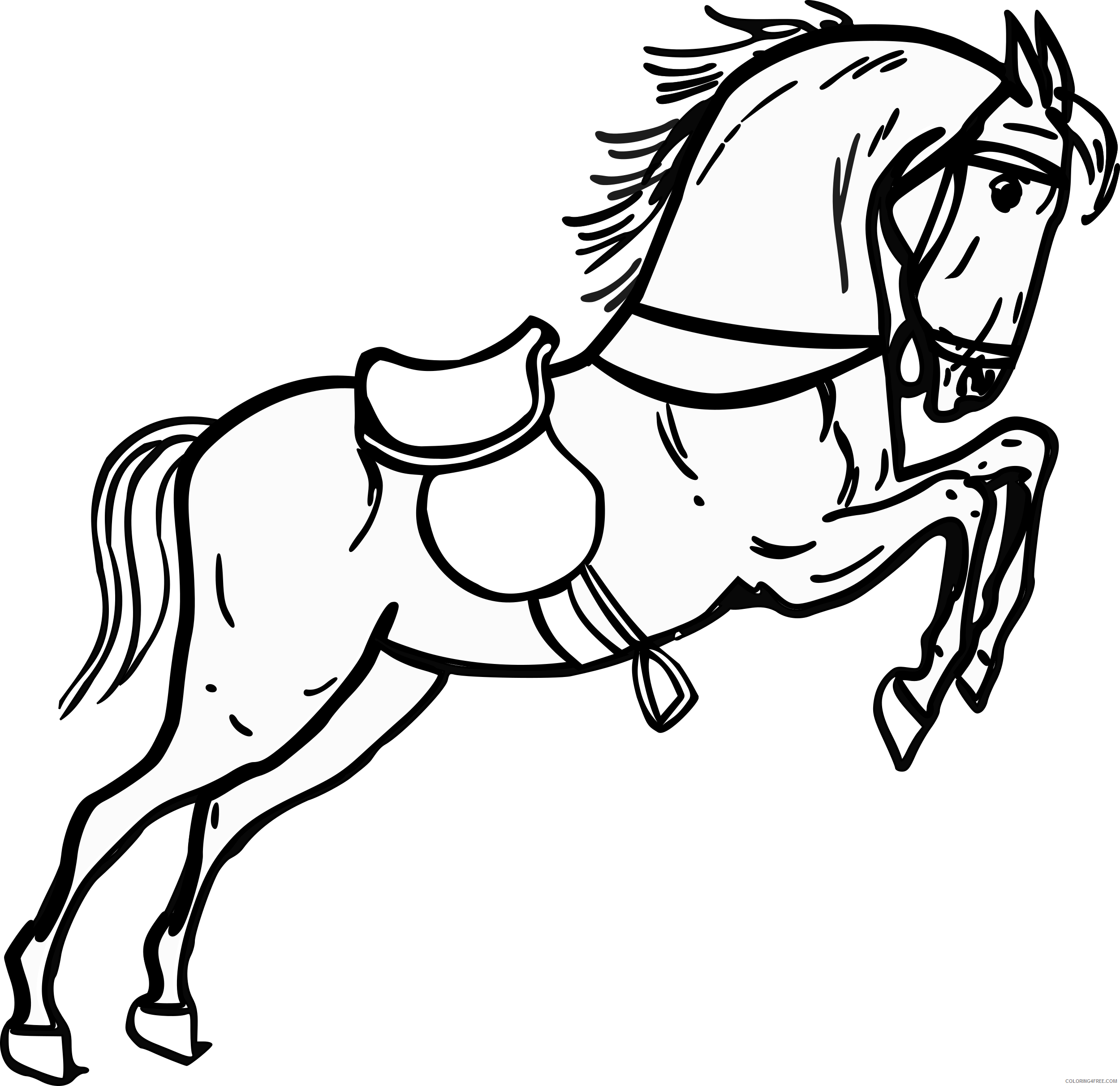 Jumping Horse Coloring Pages warszawianka jumping horse outline 2 Printable Coloring4free