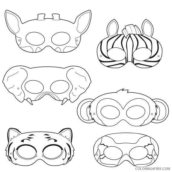 Jungle Animal Masks Coloring Pages jungle animals kid crafts kids Printable Coloring4free