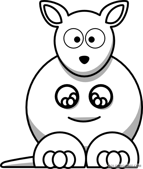 Kangaroo Outline Coloring Pages 28 kangaroo outline free cliparts Printable Coloring4free