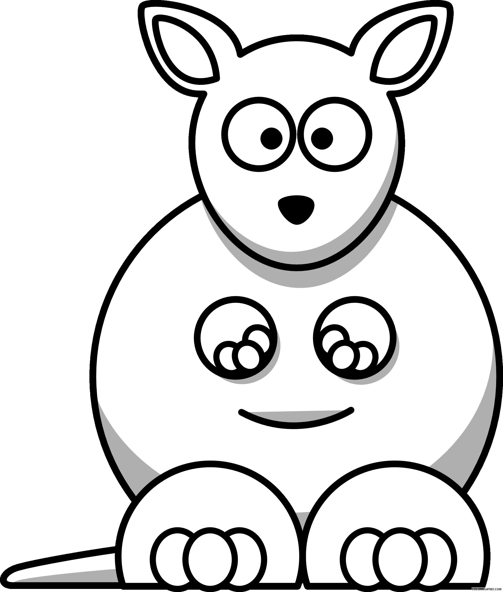 Kangaroo Outline Coloring Pages kangaroo free download Printable Coloring4free