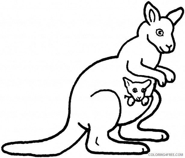 Kangaroo Outline Coloring Pages kangaroos super coloring Printable Coloring4free