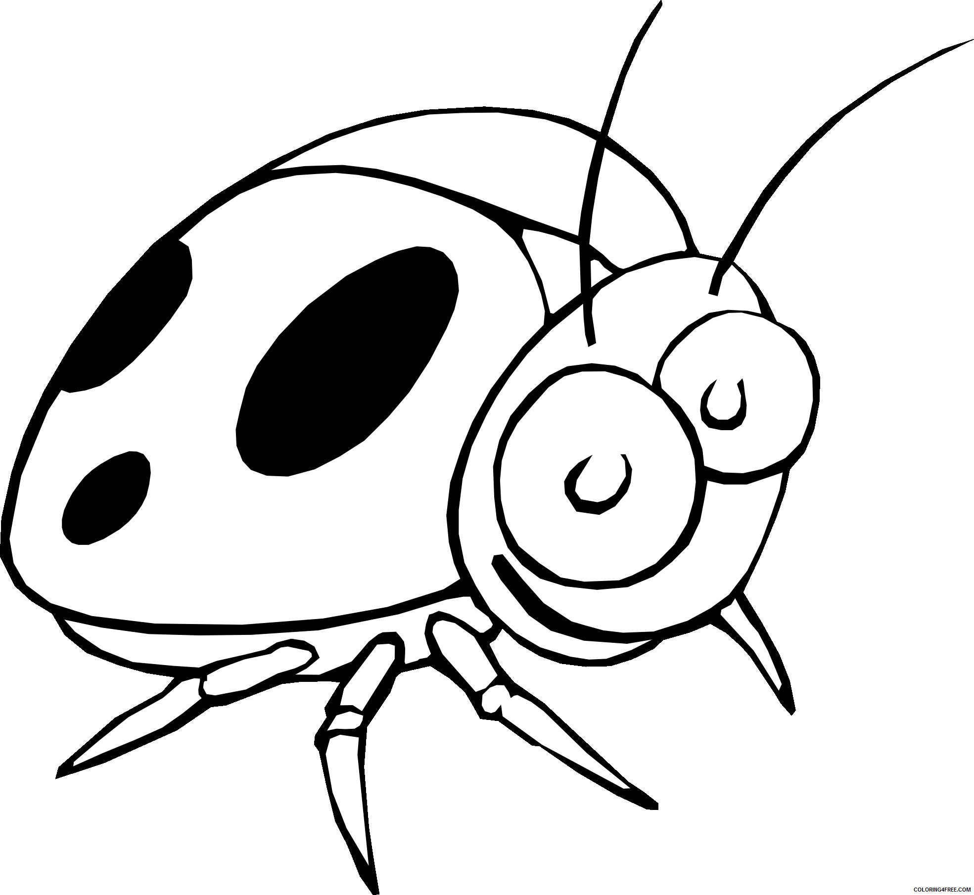 Ladybug Outline Coloring Pages ladybug outline bfree Printable Coloring4free