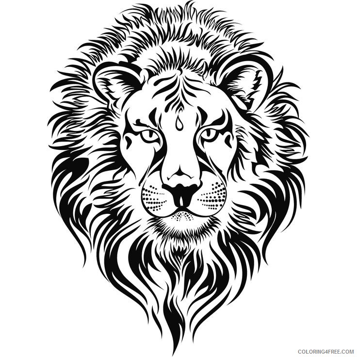 Lion Head Coloring Pages fierce lion lions head Printable Coloring4free