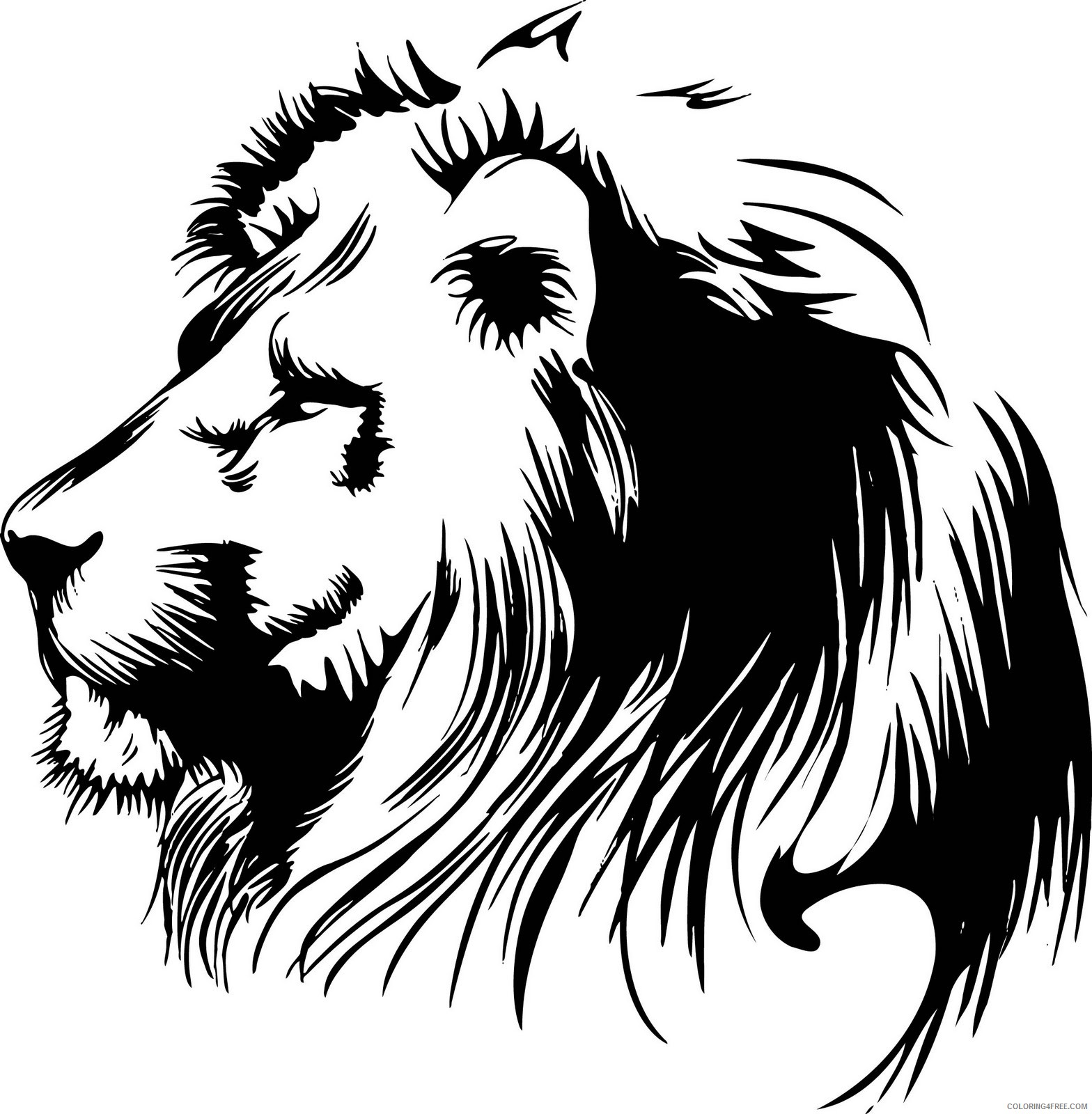 Lion Head Coloring Pages vectorian art lion head vectorfree Printable Coloring4free