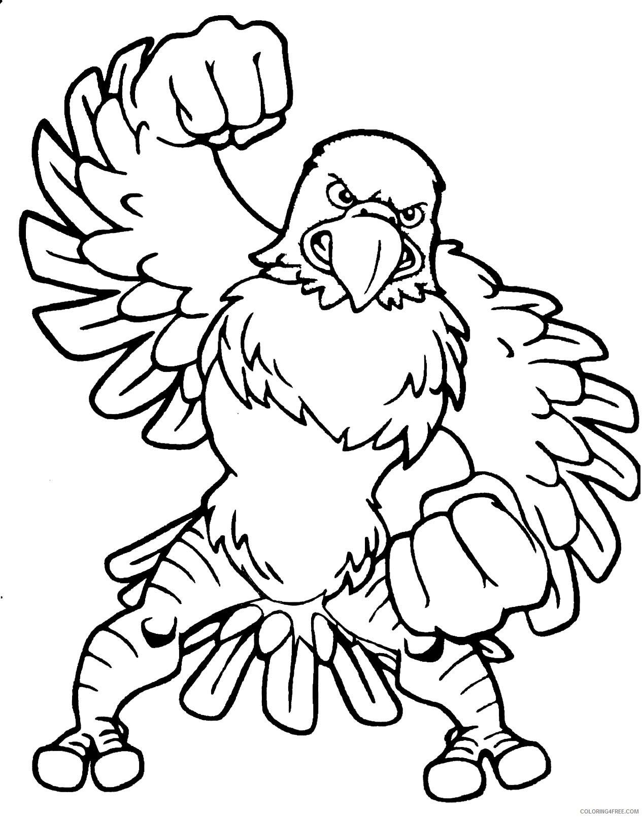 Mascot Eagles Coloring Pages Eagle Mascot Free Cliparts Printable Coloring4free Coloring4free Com