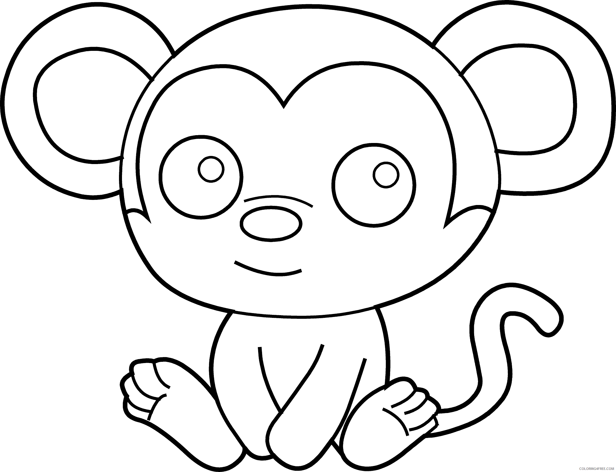 Monkey Coloring Pages baby monkey face clip art Printable Coloring4free