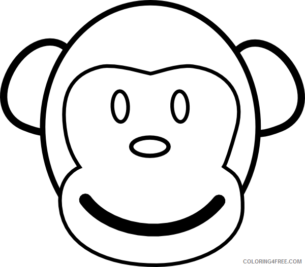 Monkey Face Coloring Pages monkey face at Printable Coloring4free