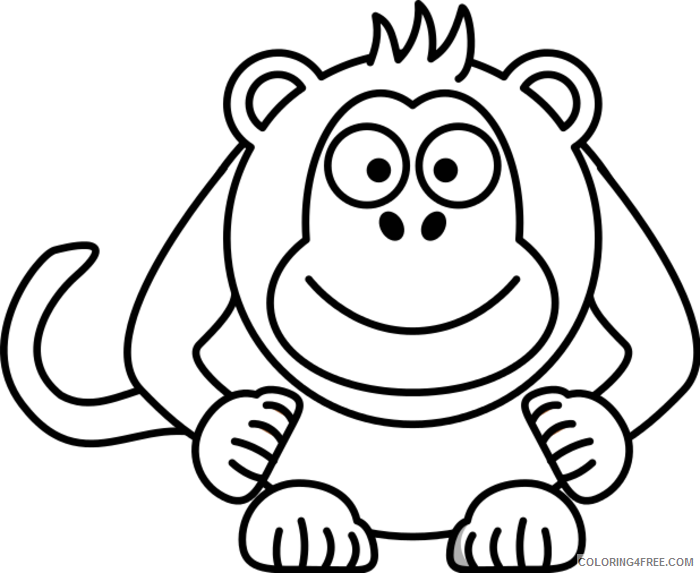 Monkey Outline Coloring Pages monkey black and Printable Coloring4free