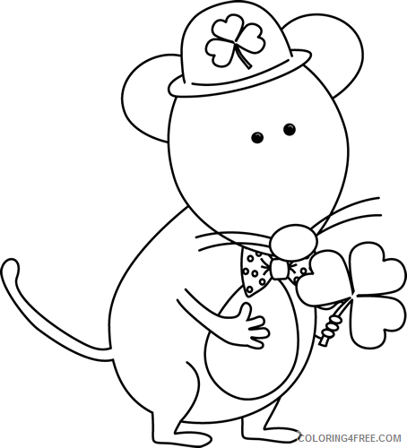 Mouse Outline Coloring Pages saint patrick Printable Coloring4free
